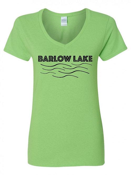 Barlow Lake Black Wave Ladies V-Neck