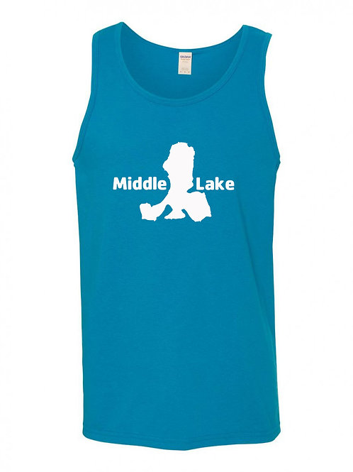 Middle Lake White Logo Tank Top