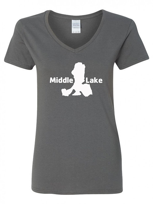 Middle Lake White Logo Ladies V-Neck