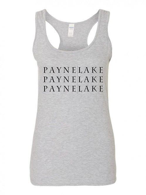 Payne Lake Black Logo Ladies Tank Top