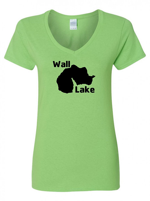 Wall Lake Black Logo Ladies V-Neck
