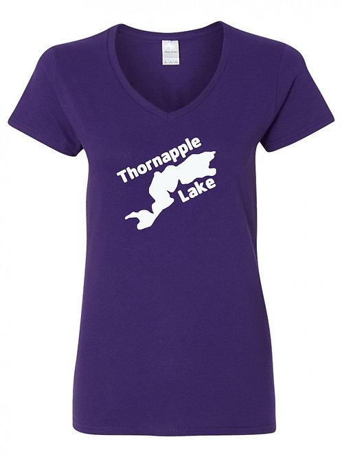 Thornapple Lake White Logo Ladies V-Neck