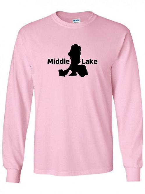 Middle Lake Black Logo Long Slevee