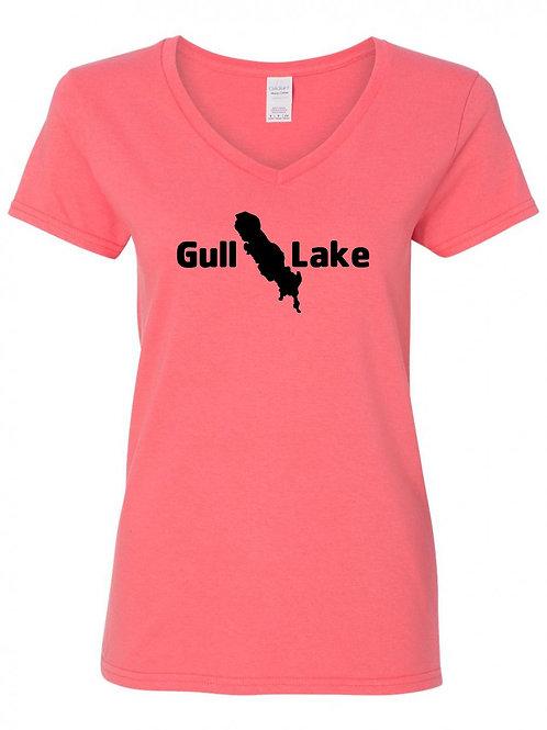 Gull Lake Black Logo Ladies V-Neck