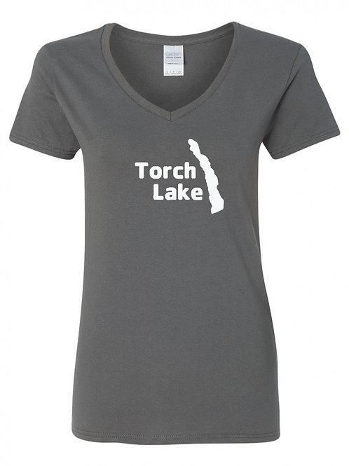 Torch Lake White Logo Ladies V-Neck