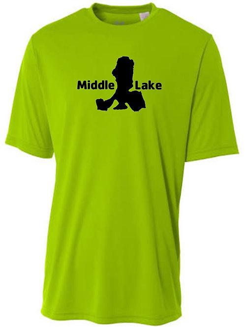 Middle Lake Black Logo Sun Tee