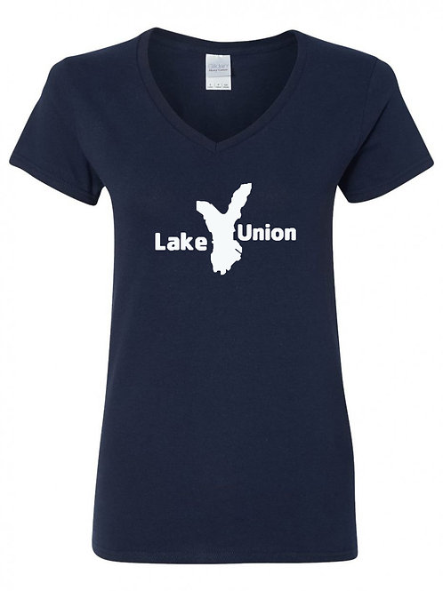 Lake Union White Logo Ladies V-Neck
