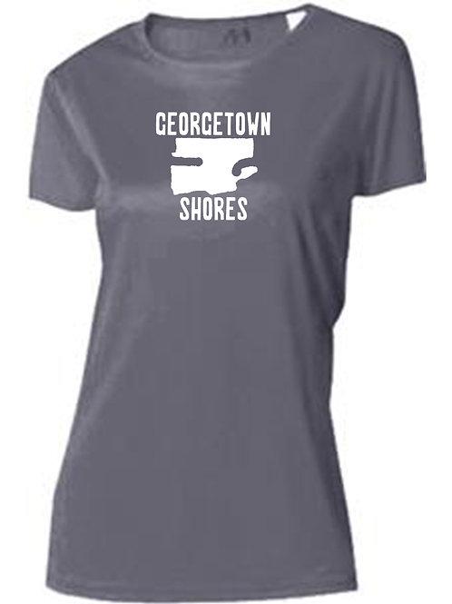 Georgetown Shores White Logo Women's Sun Tee