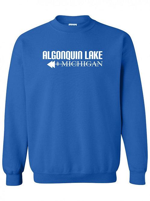Algonquin Lake White Logo Youth Crewneck