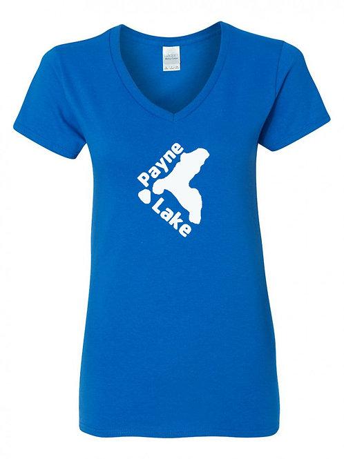 Payne Lake White Logo Ladies V-Neck