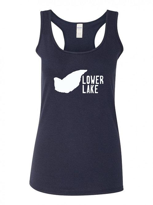 Lower Lake White Logo V-Neck