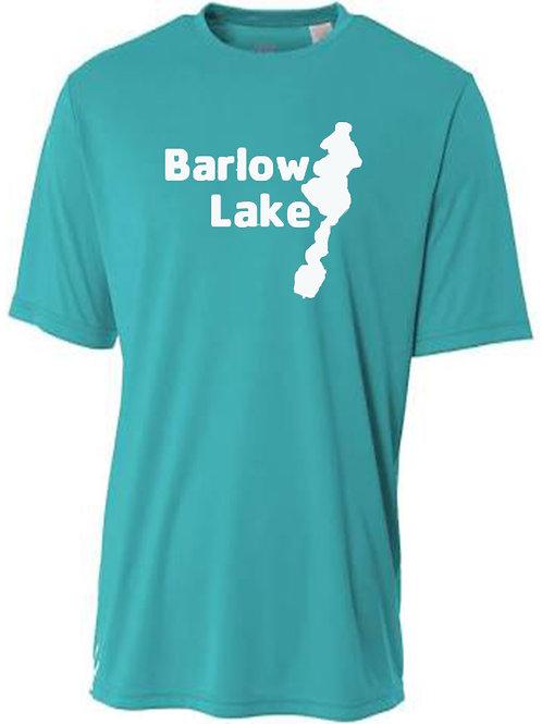 Barlow Lake White logo Sun Tee