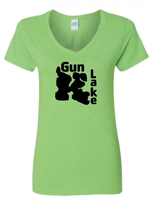Gun Lake Black logo Ladies V-Neck