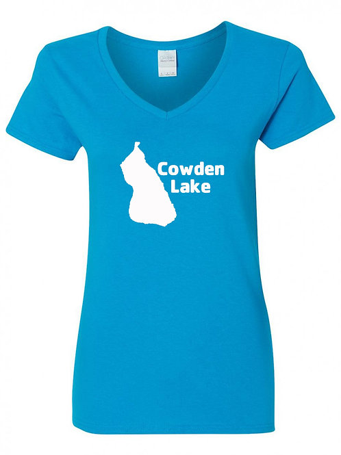 Cowden Lake White Logo V-Neck