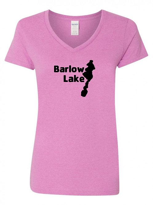 Barlow Lake Black Logo Ladies V-Neck