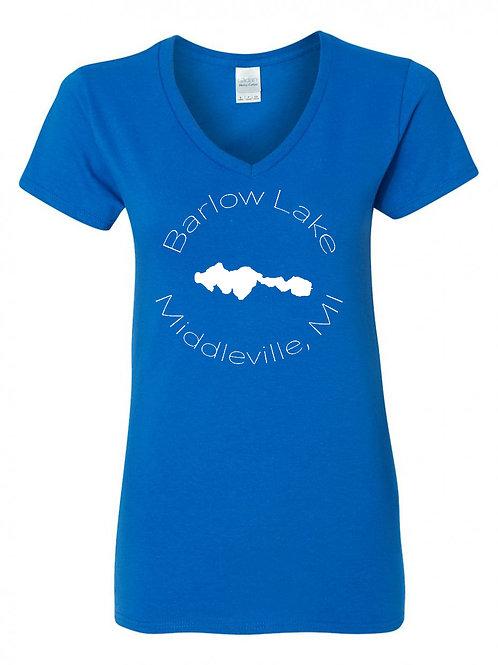 Barlow Lake White Circle Ladies V-Neck Shirts