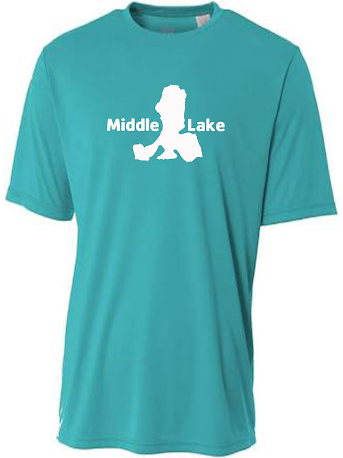 Middle Lake White Logo Sun Tee