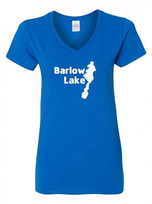 Barlow Lake White Logo Ladies V-Neck