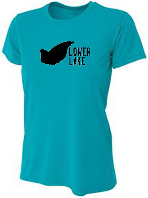 Lower Lake Black Logo Women's Sun Tee
