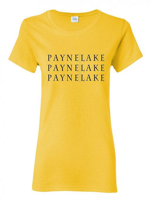 Payne Lake Black Logo Ladies T-shirt