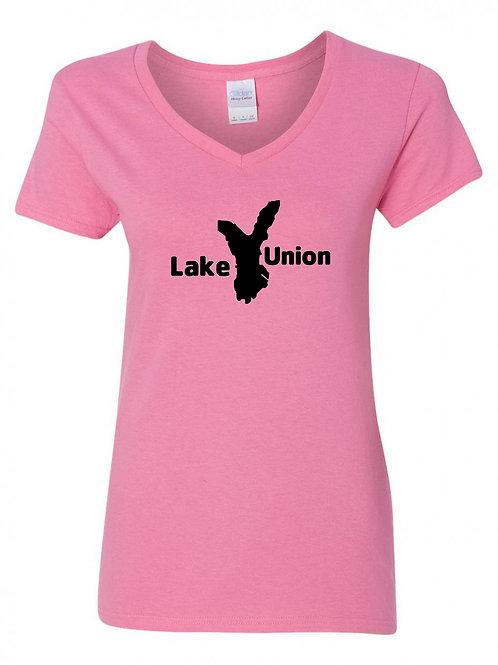 Lake Union Black Logo Ladies V-Neck