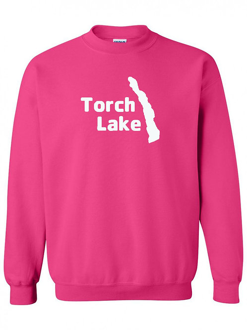 Torch Lake White Logo Crewneck
