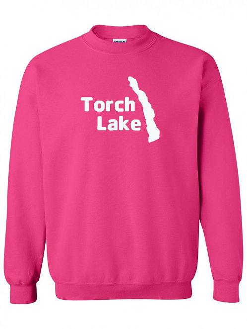 Torch Lake White Logo Crewneck