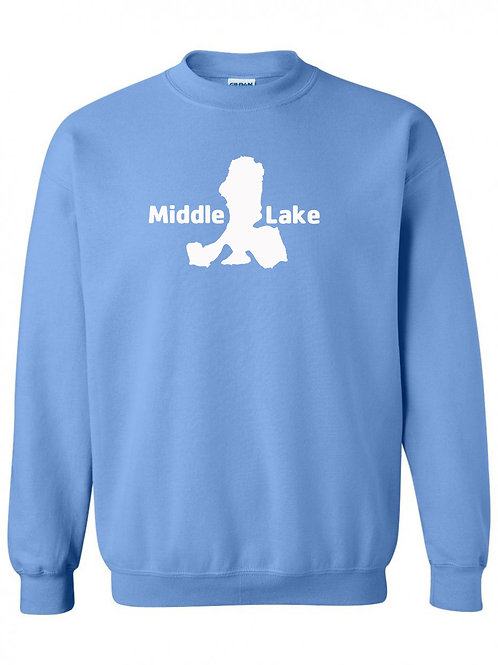 Middle Lake White Logo Crewneck