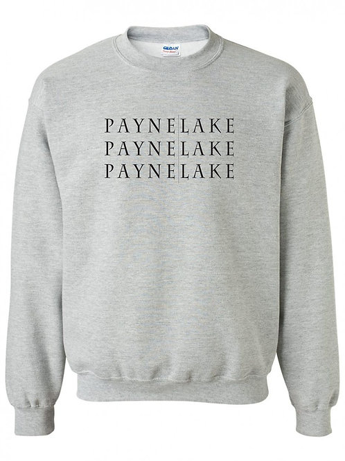 Payne Lake Black Logo Youth Crewneck
