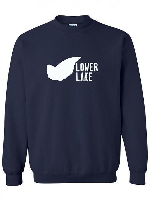 Lower Lake White Logo Crewneck