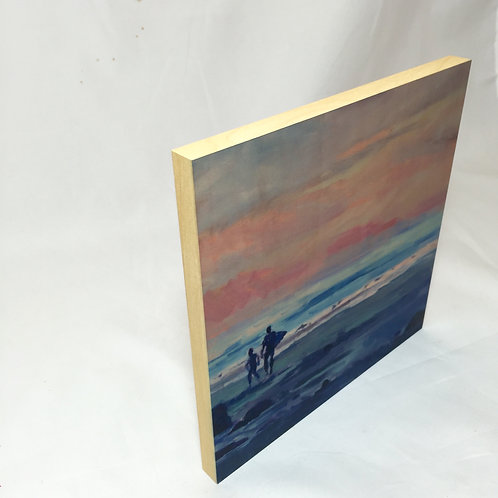 8x8 WOOD PRINT SUNSET SURF