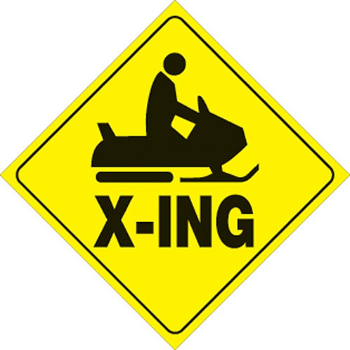 Reflective Snowmobile X-ING Sign