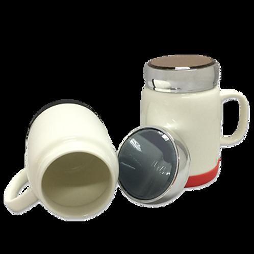 Porcelain Mug with Silver Lid (400ml)