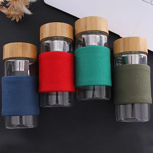 Glass Bottle with SS Infuser + Magnet Bamboo Lid (400ml)