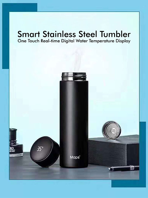 Maps Stainless Steel Tumbler w Temperature Display (430ml)