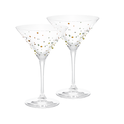 Swarovski Martini Glass Set of 2, Lime Edition