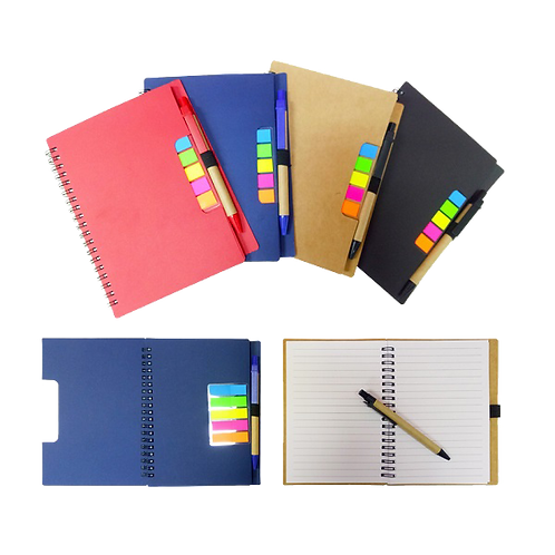 A5 ECO Notebook with Sticky Tab and Pen