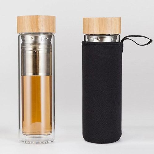 Double Wall Fruit / Tea Infuser Glass Bottle (450ml)