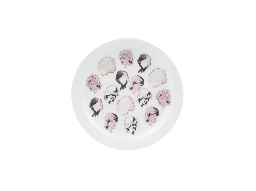 handmade, ceramics, neon,  pottery, plate, urban, illustration, princess diana, limited edition, royal family,