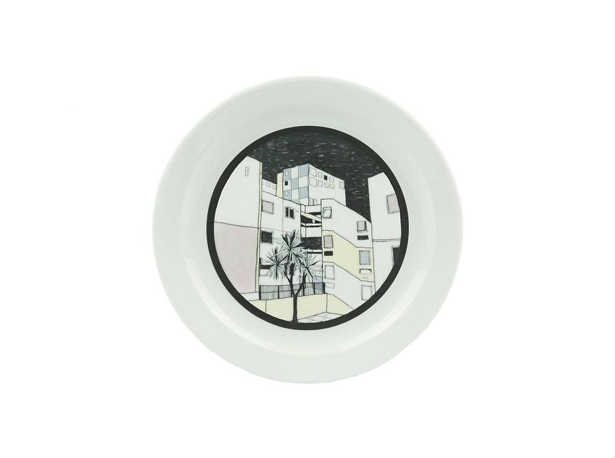 handmade, ceramics, nightview, neon, miami vice, pottery, urban, cityscape, illustration