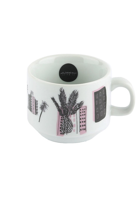 handmade, ceramics, nightview, neon, miami vice, pottery, urban, cityscape, illustration, mug, coffee, cup, porcelain,
