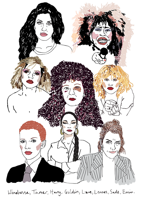 amy winehouse, tracey emin, poster, blondie, nan goldin, a2, celebrity, women