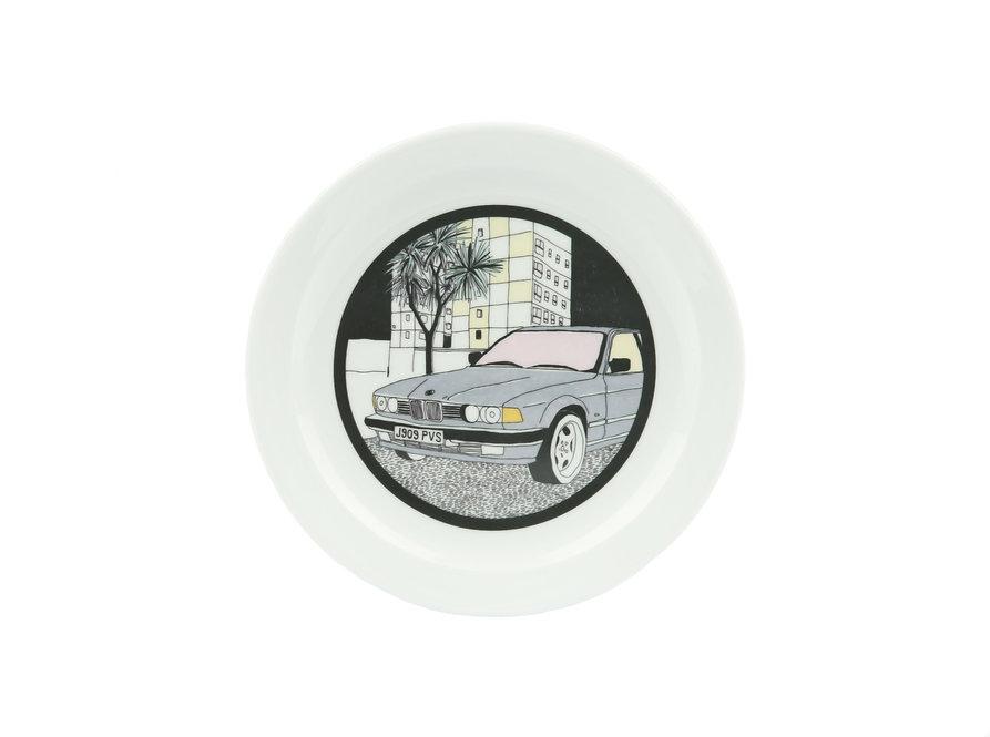 handmade, ceramics, nightview, neon, miami vice, pottery, urban, cityscape, illustration, bmw, car, plate