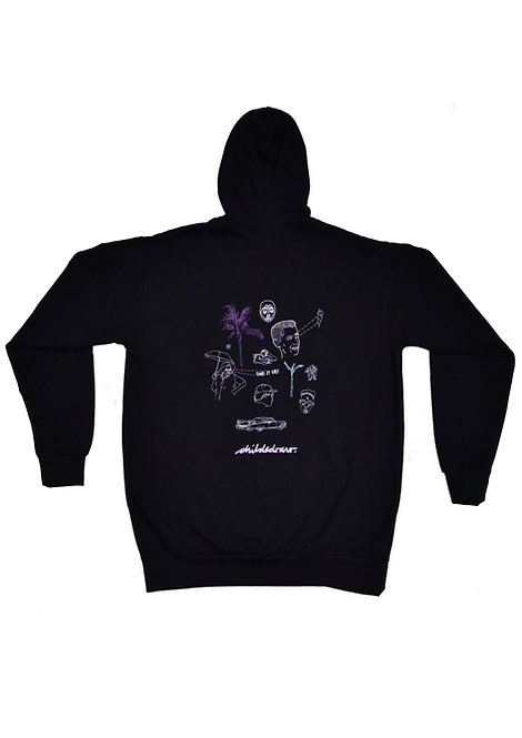 'Take It Easy' Embroidered Black Unisex Hoody Jumper - CHILDSDRAW - Made in the UK