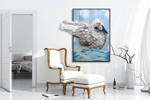 """Trumpeter Swan """"Water Landing"""""""