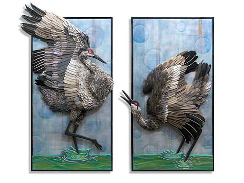 Sandhill Dancers Diptych (priced separately)