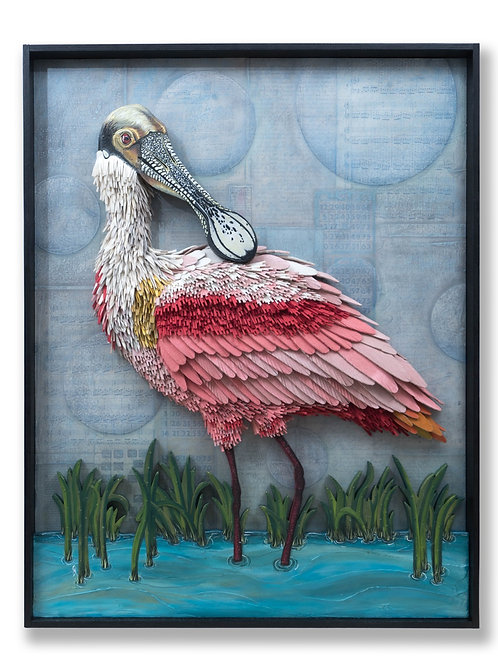 """PROTECT & OVERCOME"" Roseate Spoonbill"