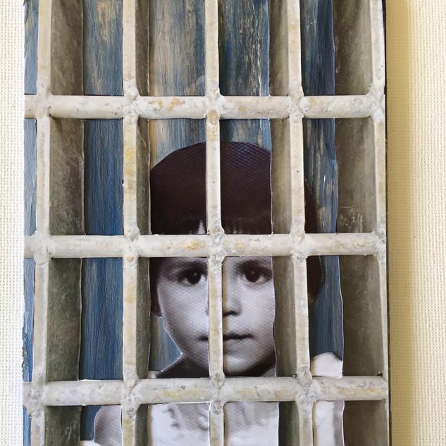 "beatriz behind bars, 4X6"" mixed"