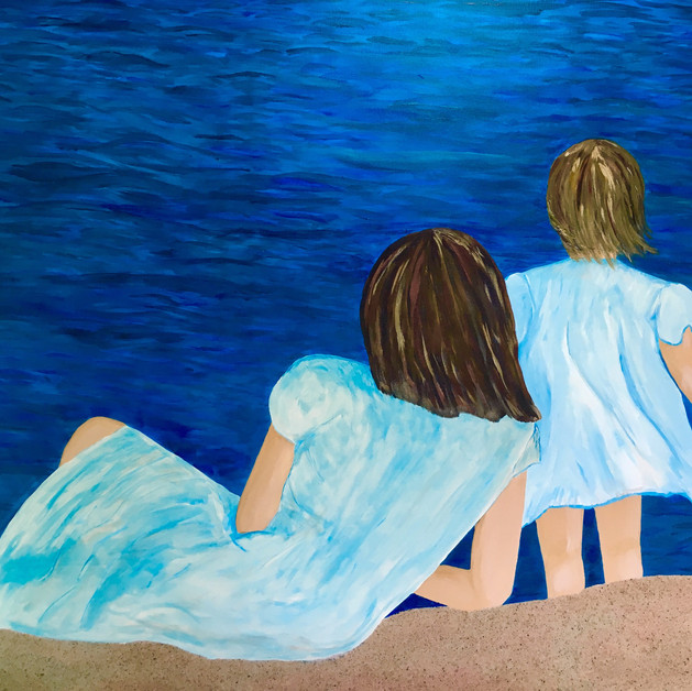 "Letting Go, 36X48"" Acrylic and sand"