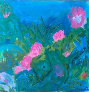 "Rosa Ruggosa Abstract painting 36X36"" acrylic, Nantucket Island"